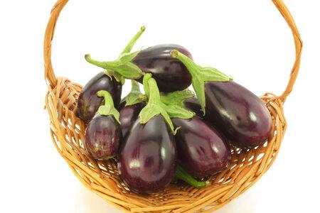 brinjal: eggplant in wicker basket
