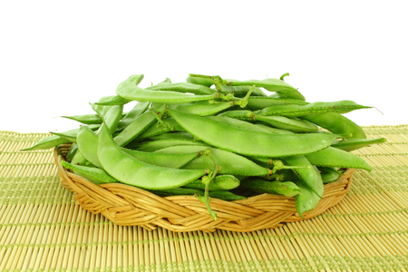 dolichos lablab: valor papdi beans in basket Stock Photo