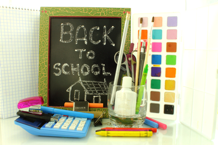back to school with black board photo
