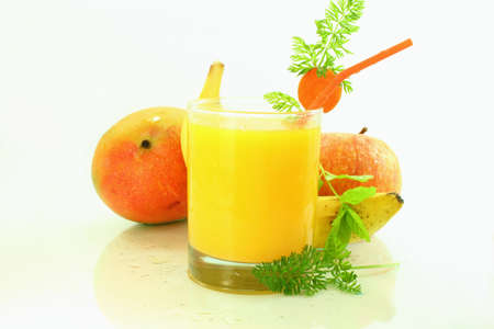 banana apple mango carrot smoothie  photo