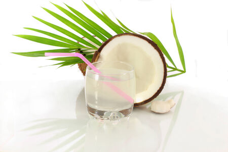 coconut water cut coconut in white background  photo
