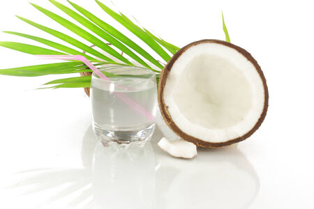 coconut water white coconut and leaves photo