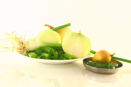 cut and paste: cut onion green onion with paste