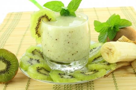 kiwi fruit and banana smoothie Stock Photo