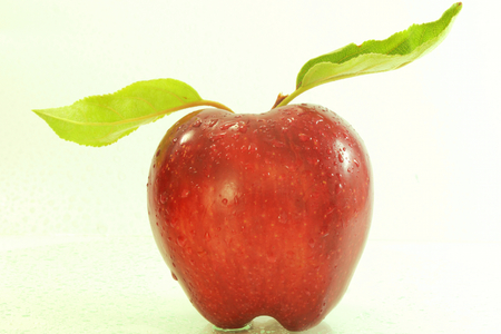 cures: apple with leaves in closeup