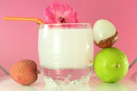 lychee lime juice closeup photo