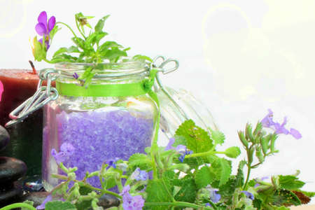 spa therapy:  lavender spa therapy closeup Stock Photo