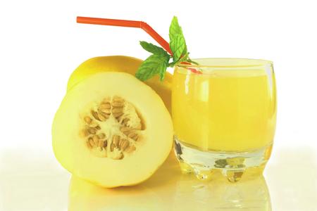 yellow korean melon with juice closeup