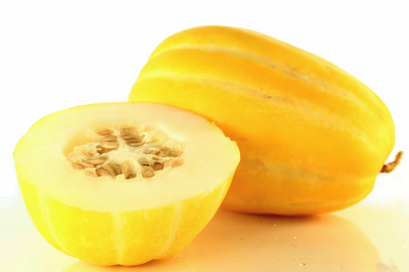 yellow korean melon fruit closeup