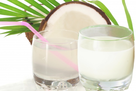 coconut water and coconut milk with cut coconut photo