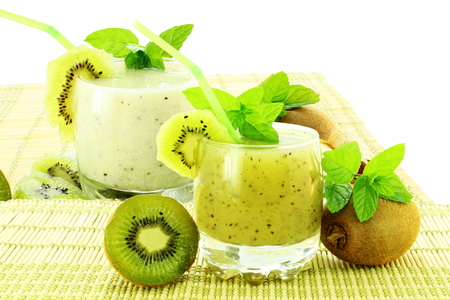 kiwi fruit juice and milkshake Archivio Fotografico