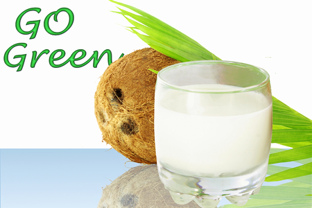coconut milk with go green words and coconut photo