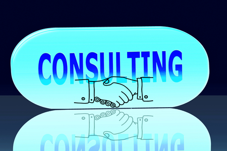 icone: glowing consulting words icone in blue background