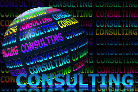 glowing consulting words with globe in black background photo