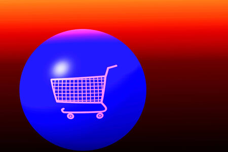 white shopping cart on blue globe and red background photo