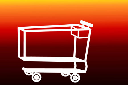 white shopping cart on red background