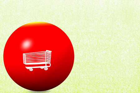 white shopping cart on red globe and  texture background photo
