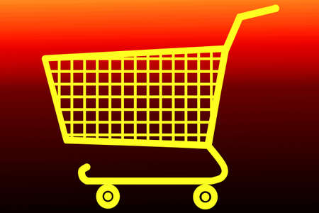yellow shopping cart on red background Stock Photo