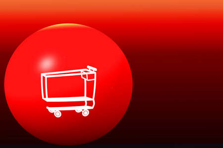 white shopping cart on red globe and red background photo