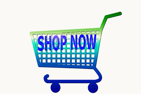 multi color shopping cart with shop now word photo