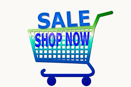 multi color shopping cart with shop now and sale word photo