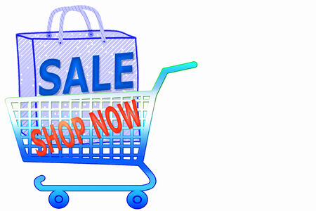 multi color shopping cart and bag with shop now and sale word