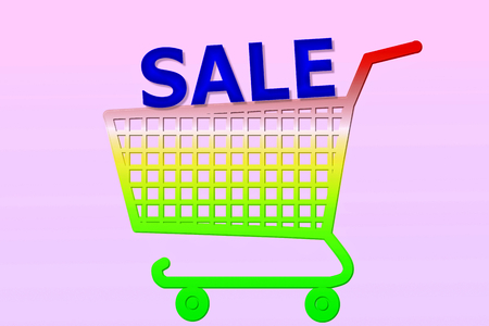 multi color shopping cart with  sale word