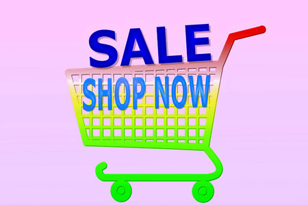multi color shopping cart with shop now and sale word
