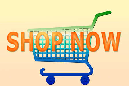 multi color shopping cart with shop now word