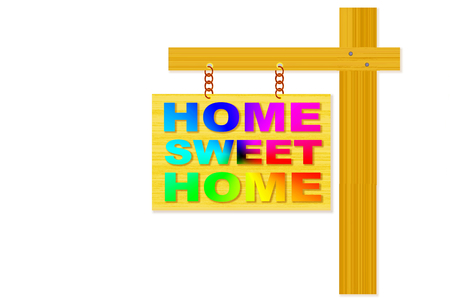 home sweet home words signboard design with post  photo