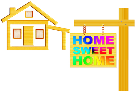 art product: home sweet home words signboard with home icon design