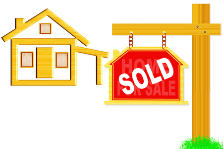 sold words signboard and post with home icon design photo