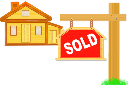 sold words signboard and post with home icon design Stock Photo - 26158308