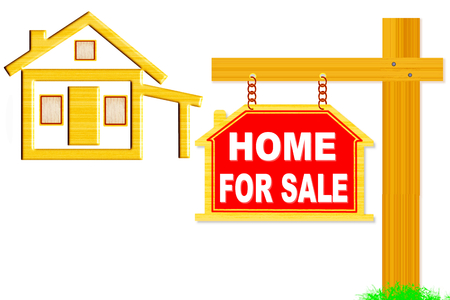 home for sale words signboard with home icon design photo