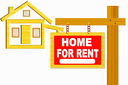 rent: home for rent words signboard with home icon design