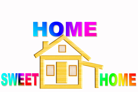 home sweet home words  with home icon design photo