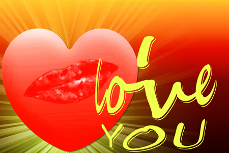 i love you word with heart and lips icon for love showing