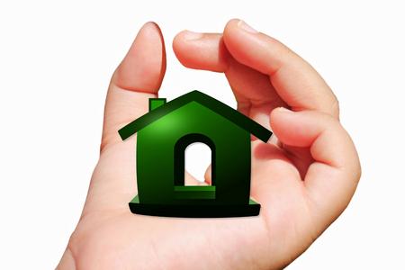 home icon design on hand photo