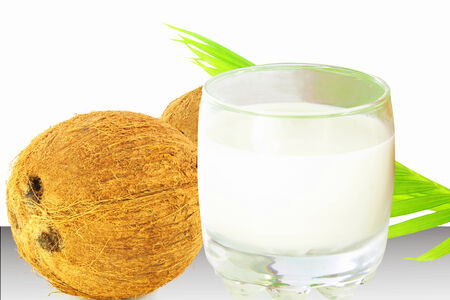 coconut milk and coconut in white background photo