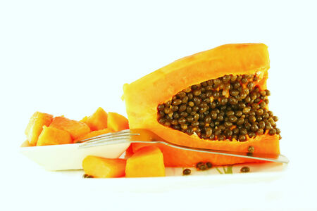 papaya in cutting with seeds