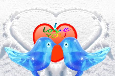 art and craft: bluebird lovebird glass art craft with heart in snow background