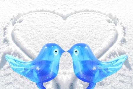 art and craft: bluebird lovebird glass art craft in heart snow background