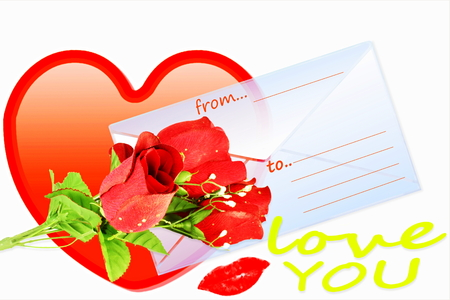 address bar: love showing heart rose and envelope with address bar Stock Photo