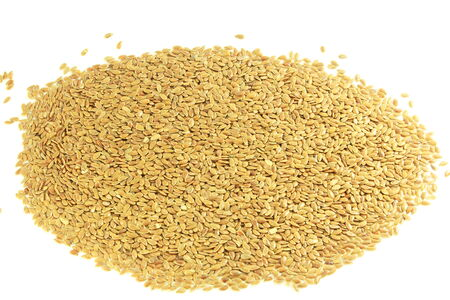 organic flax seed: flax seed closeup in pure white background Stock Photo
