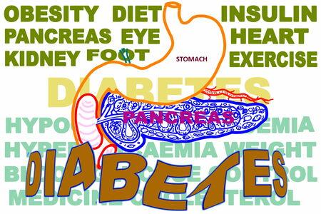 diabetes gerelateerde zoekwoorden icoon met de alvleesklier en de maag Stockfoto