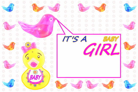 baby announcement card: baby girl arrival announcement card