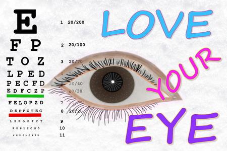 sight chart: ama a tu palabra ojo con la carta de examen de la vista en fondo blanco nieve