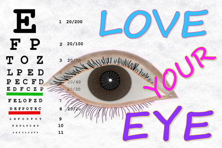 sight chart: love your eye word with sight test chart in snow white background