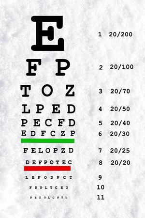 sight chart: vista del ojo gr�fico de prueba en fondo blanco nieve Foto de archivo