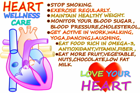 human vein  heartbeat: heart wellness care related words with heart in  white background Stock Photo